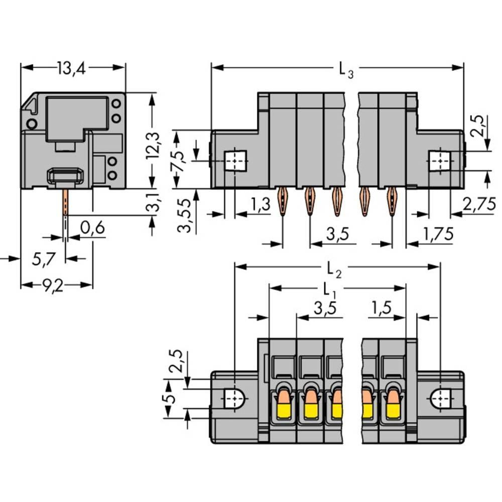 Fjederkraftsklemmeblok WAGO 1.50 mm² Poltal 3 Grå 400 stk