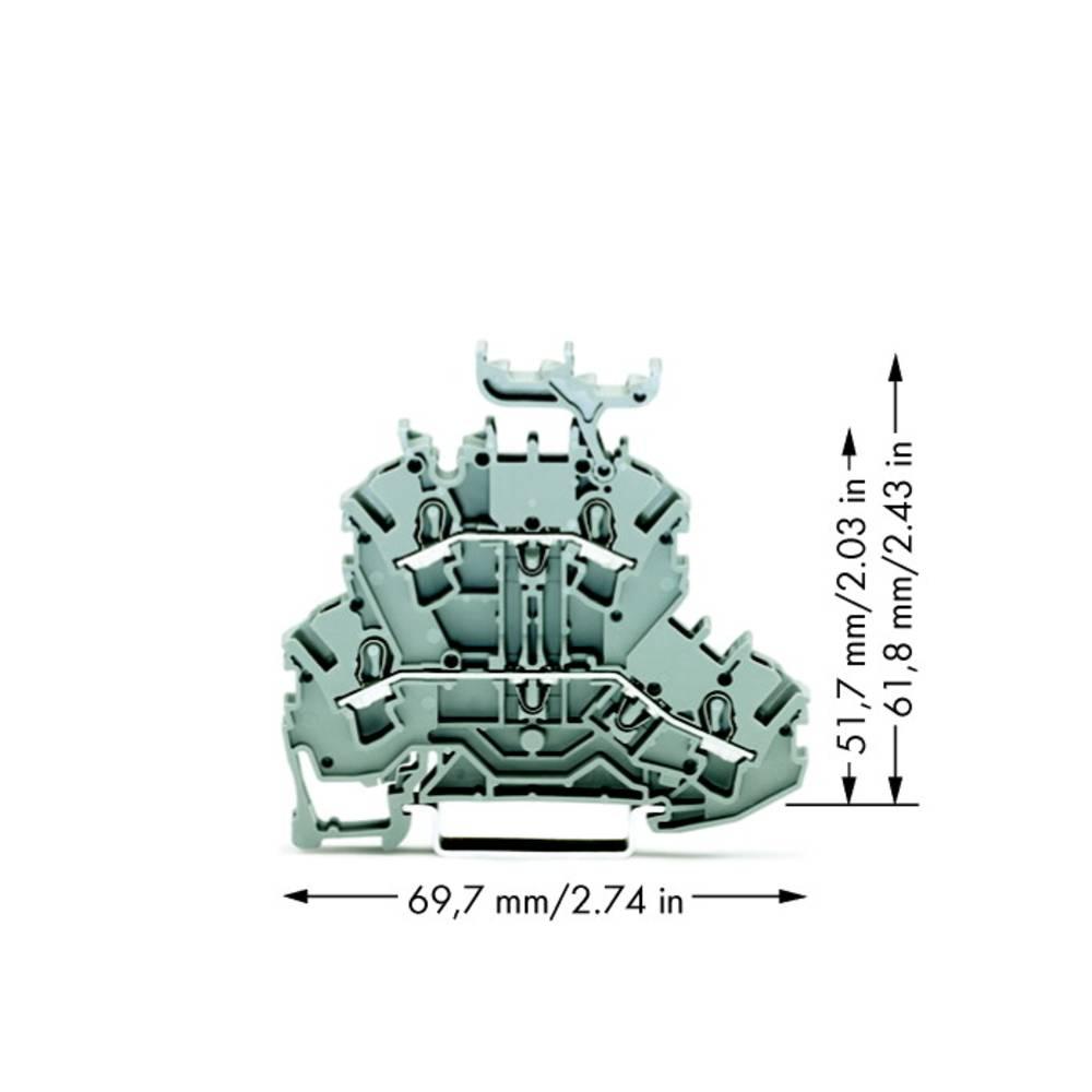 Dobbeltlags-gennemgangsklemme 5.20 mm Trækfjeder Belægning: L, L Grå WAGO 2002-2231 50 stk