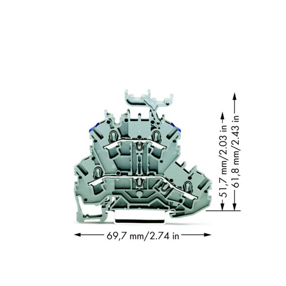 Dobbeltlags-gennemgangsklemme 5.20 mm Trækfjeder Belægning: L, N Grå WAGO 2002-2233 50 stk