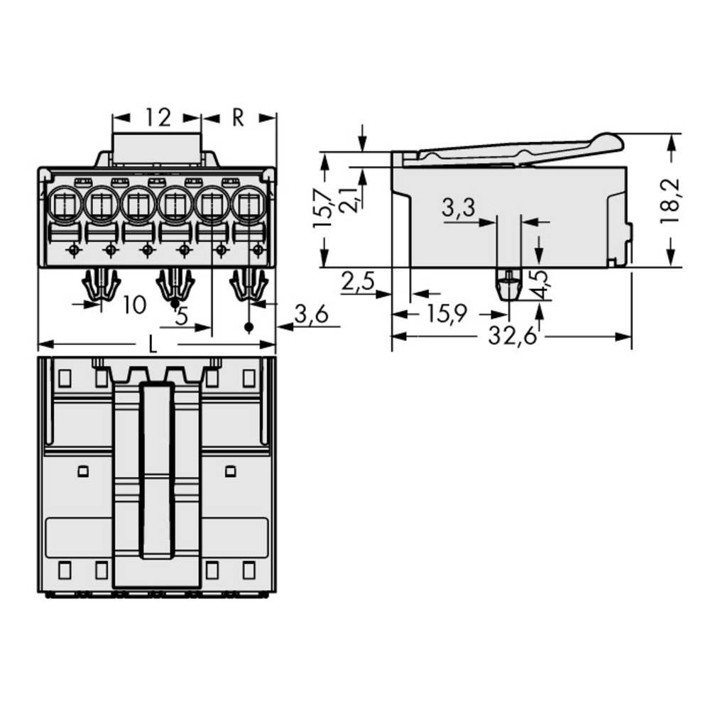 Stiftkabinet-printplade 2092 (value.1360466) Samlet antal poler 2 WAGO 2092-1522/020-000 Rastermål: 5 mm 200 stk