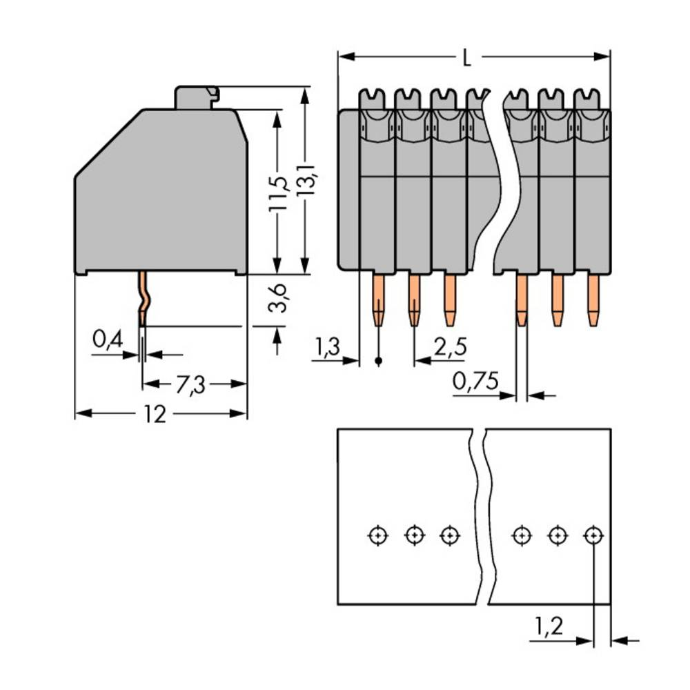 Fjederkraftsklemmeblok WAGO 0.50 mm² Poltal 7 Grå 240 stk