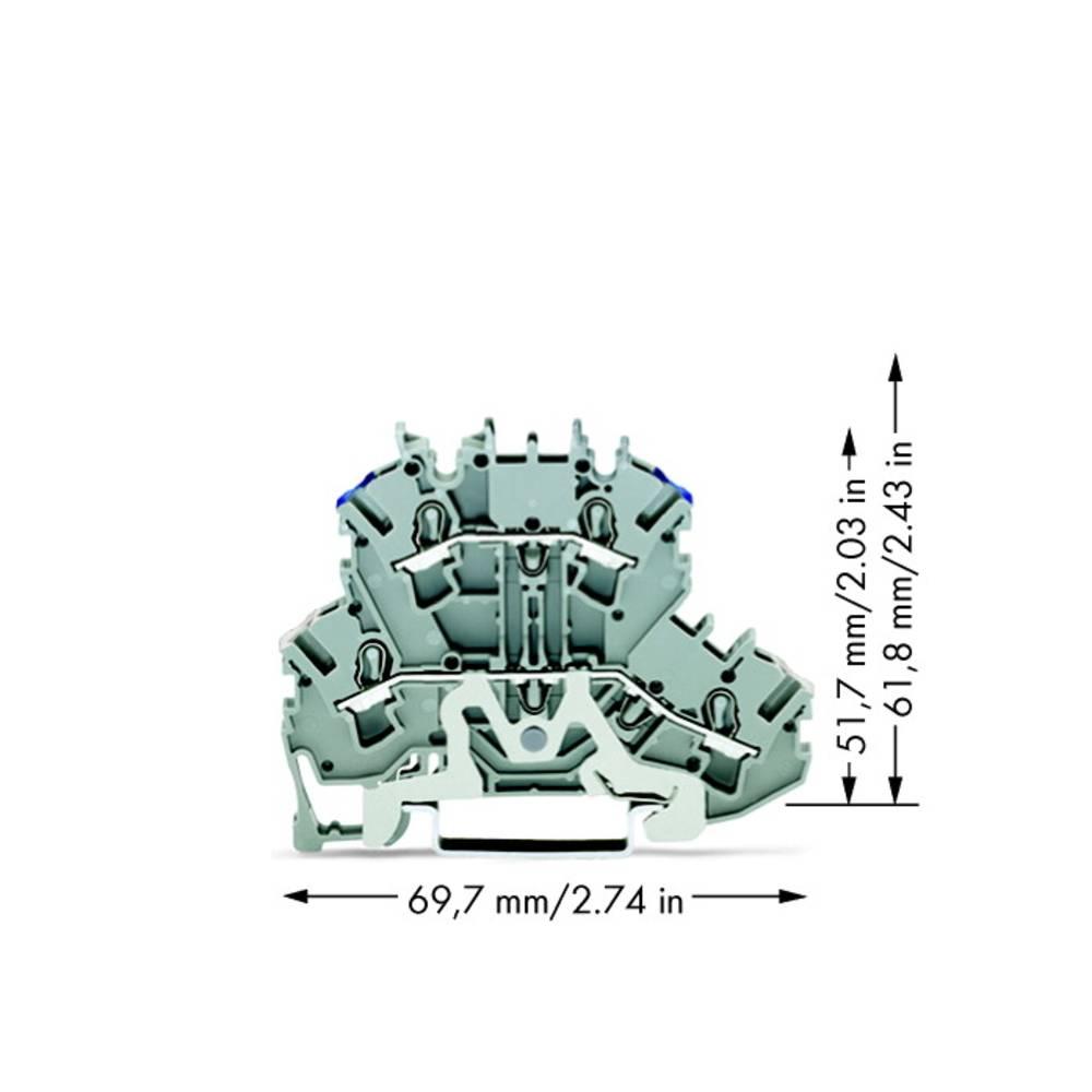 Dobbeltlags-skærmlederklemme 5.20 mm Trækfjeder Belægning: N Grå WAGO 2002-2218 50 stk