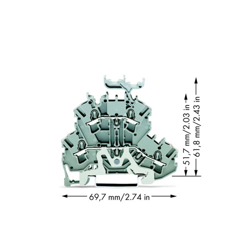 Dobbeltlags-skærmlederklemme 5.20 mm Trækfjeder Belægning: L Grå WAGO 2002-2258 50 stk