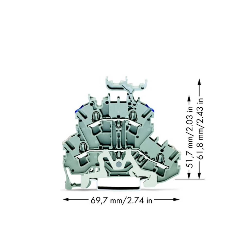 Dobbeltlags-skærmlederklemme 5.20 mm Trækfjeder Belægning: N Grå WAGO 2002-2248 50 stk