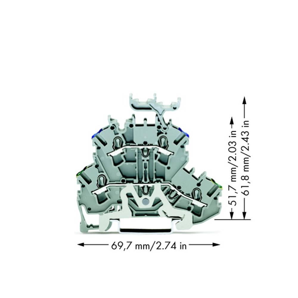 Dobbeltlags-beskyttelseslederklemme 5.20 mm Trækfjeder Belægning: Terre, N Grå WAGO 2002-2247 50 stk