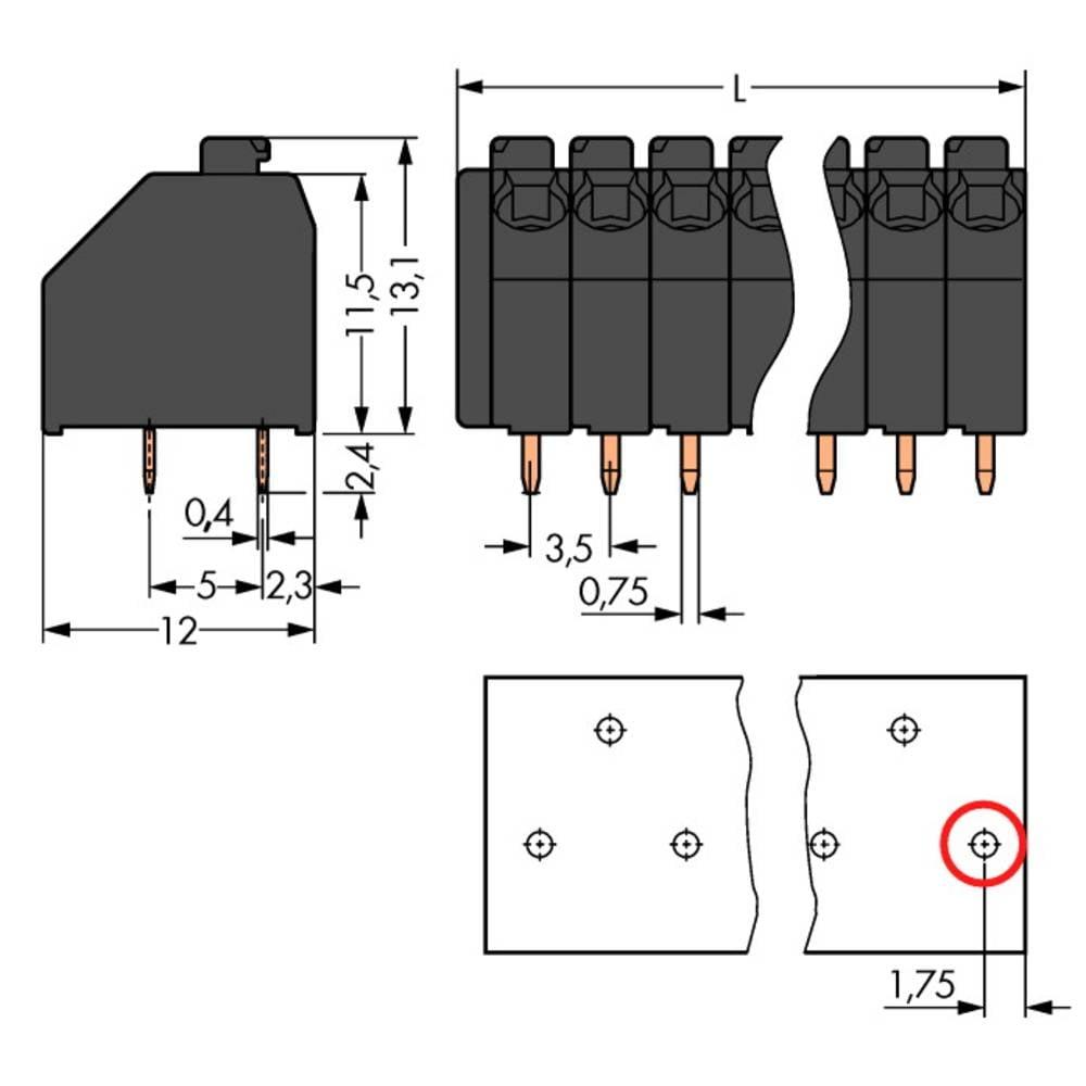 Fjederkraftsklemmeblok WAGO 1.50 mm² Poltal 4 Lysegrå 300 stk