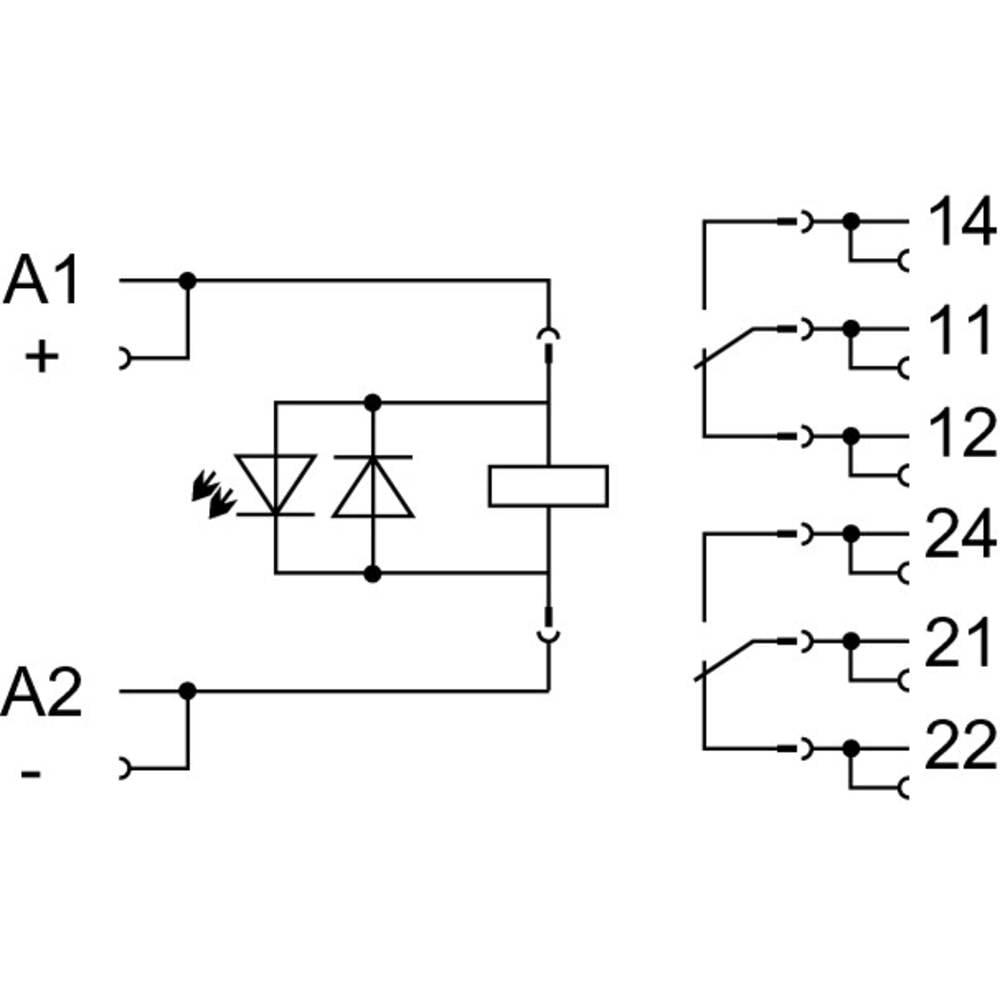 Vtično ohišje z industrijskim relejem; napetost tuljave: DC 110 V; 2 x preklopni WAGO 858-327