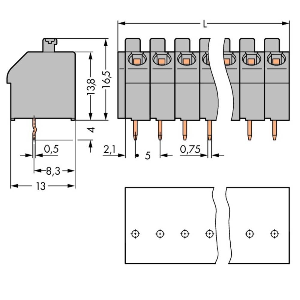 Fjederkraftsklemmeblok WAGO 1.00 mm² Poltal 10 Orange 80 stk