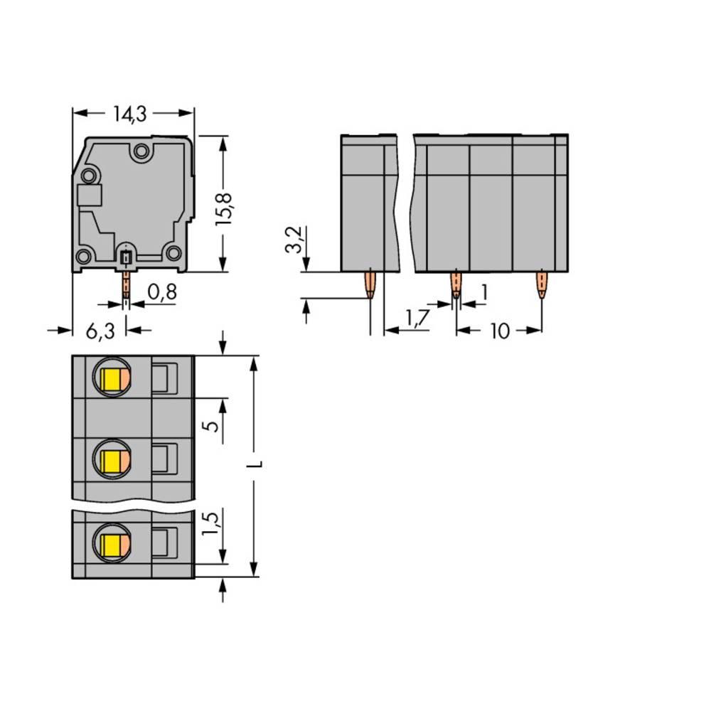 Fjederkraftsklemmeblok WAGO 2.50 mm² Poltal 3 Grå 180 stk