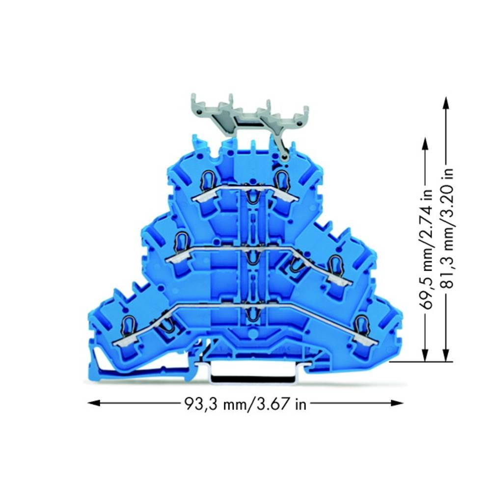 Trippel-gennemgangsklemme 5.20 mm Trækfjeder Belægning: N, N, N Blå WAGO 2002-3234 50 stk