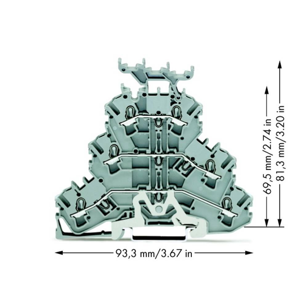 Trippel-gennemgangsklemme 5.20 mm Trækfjeder Belægning: L, L Grå WAGO 2002-3258 50 stk