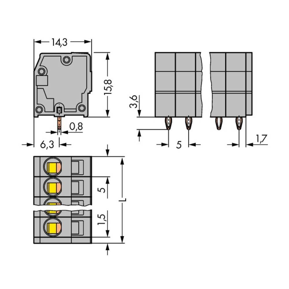Fjederkraftsklemmeblok WAGO 2.50 mm² Poltal 7 Grå 120 stk