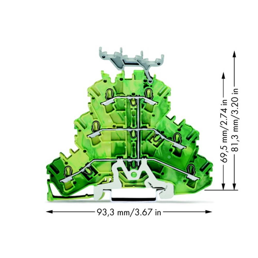 Trippel-beskyttelseslederklemme 5.20 mm Trækfjeder Belægning: Terre Grøn-gul WAGO 2002-3237 50 stk