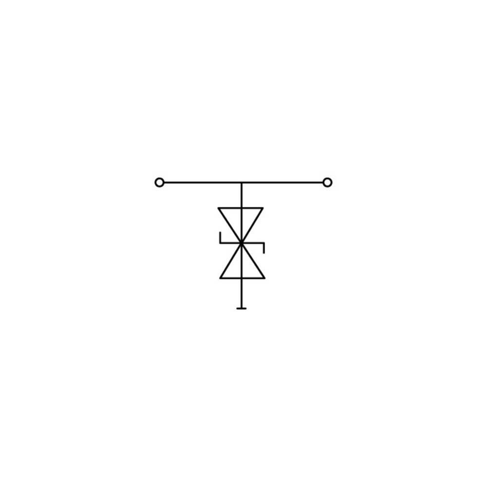 Enkelt klemme 10 mm Trækfjeder Belægning: L Grå WAGO 870-523/281-595 25 stk