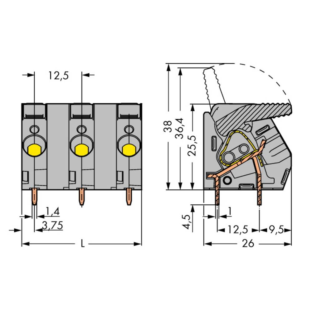 Fjederkraftsklemmeblok WAGO 6.00 mm² Poltal 8 Grå 10 stk