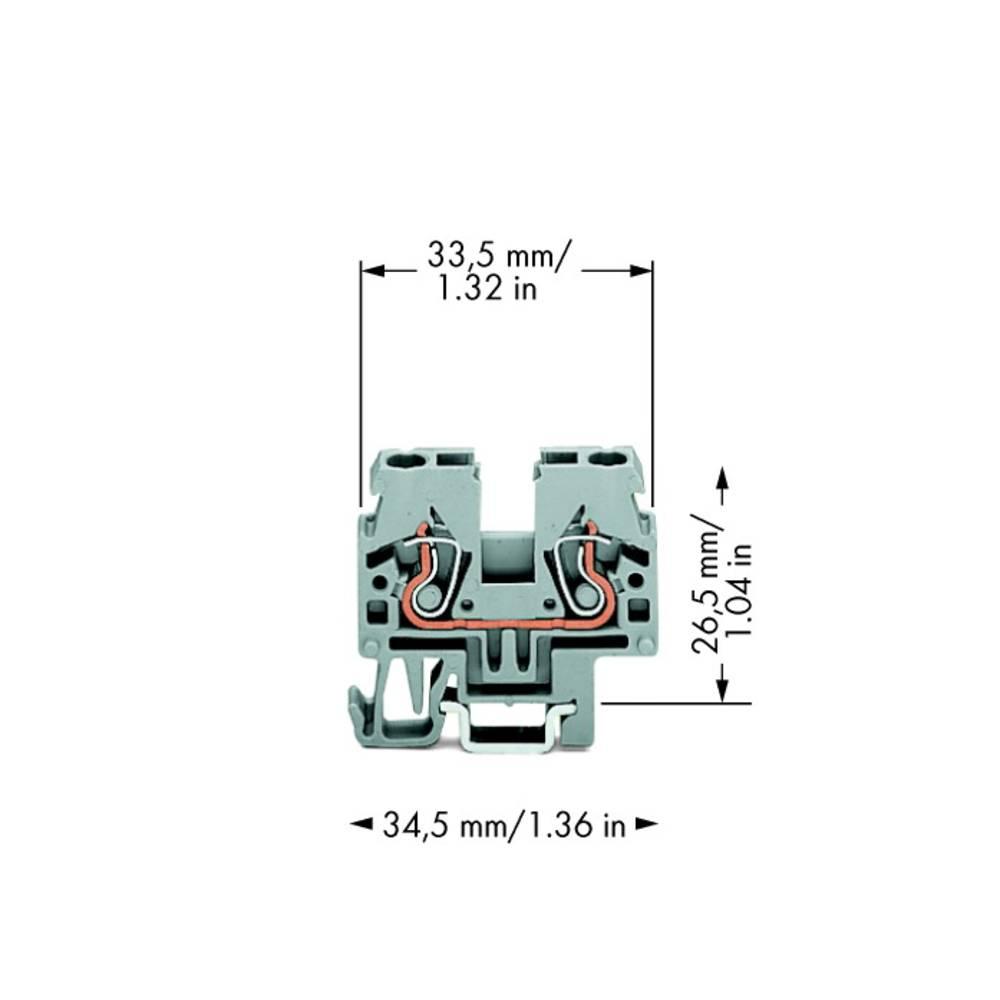 Gennemgangsklemme 5 mm Trækfjeder Belægning: L Grå WAGO 870-911 100 stk