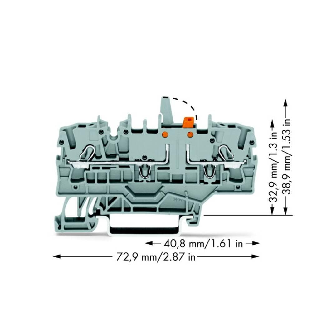 Skilleklemme 5.20 mm Trækfjeder Belægning: L Grå WAGO 2002-1971/401-000 50 stk