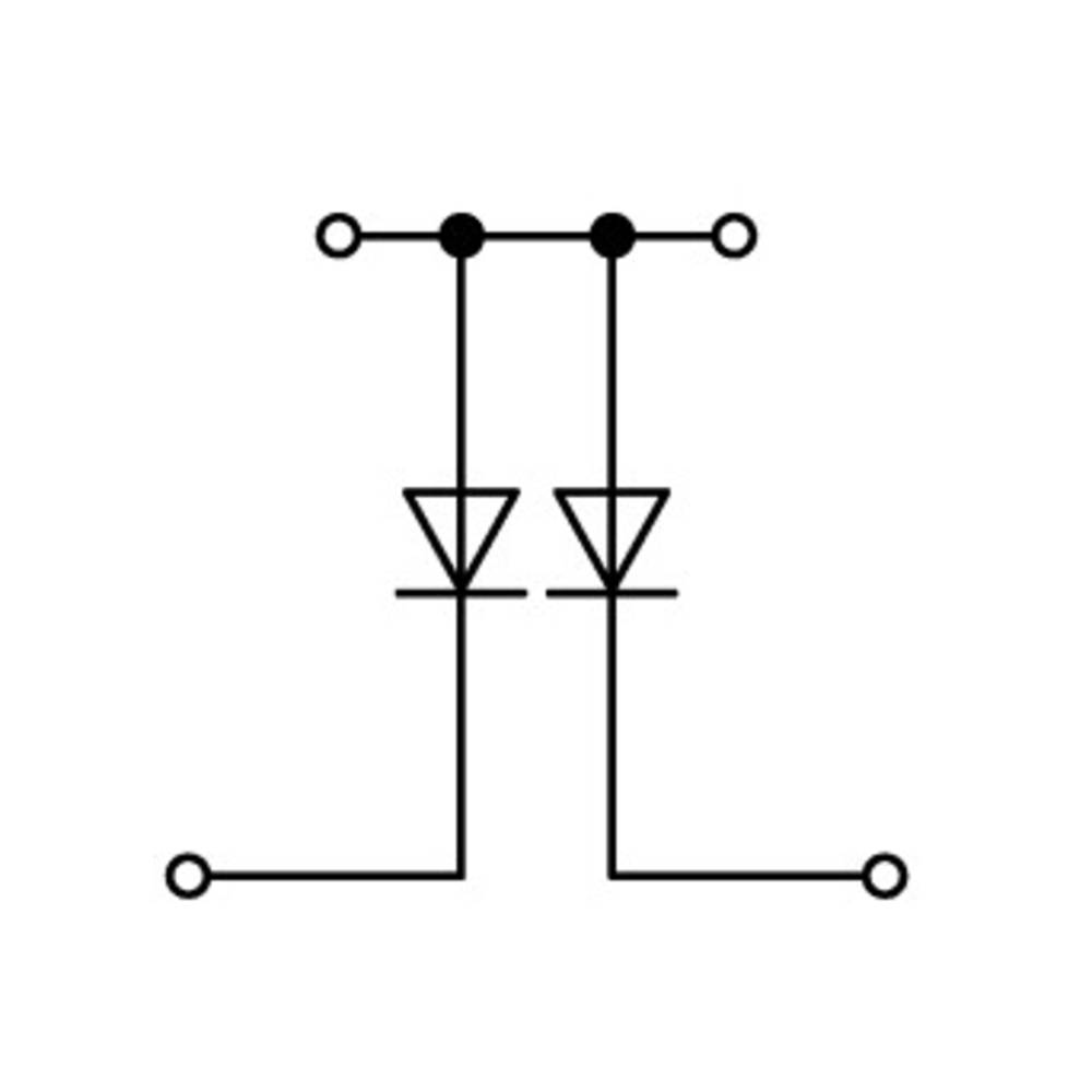Dobbeltlags diodeklemme 5 mm Trækfjeder Belægning: L Grå WAGO 870-541/281-490 50 stk