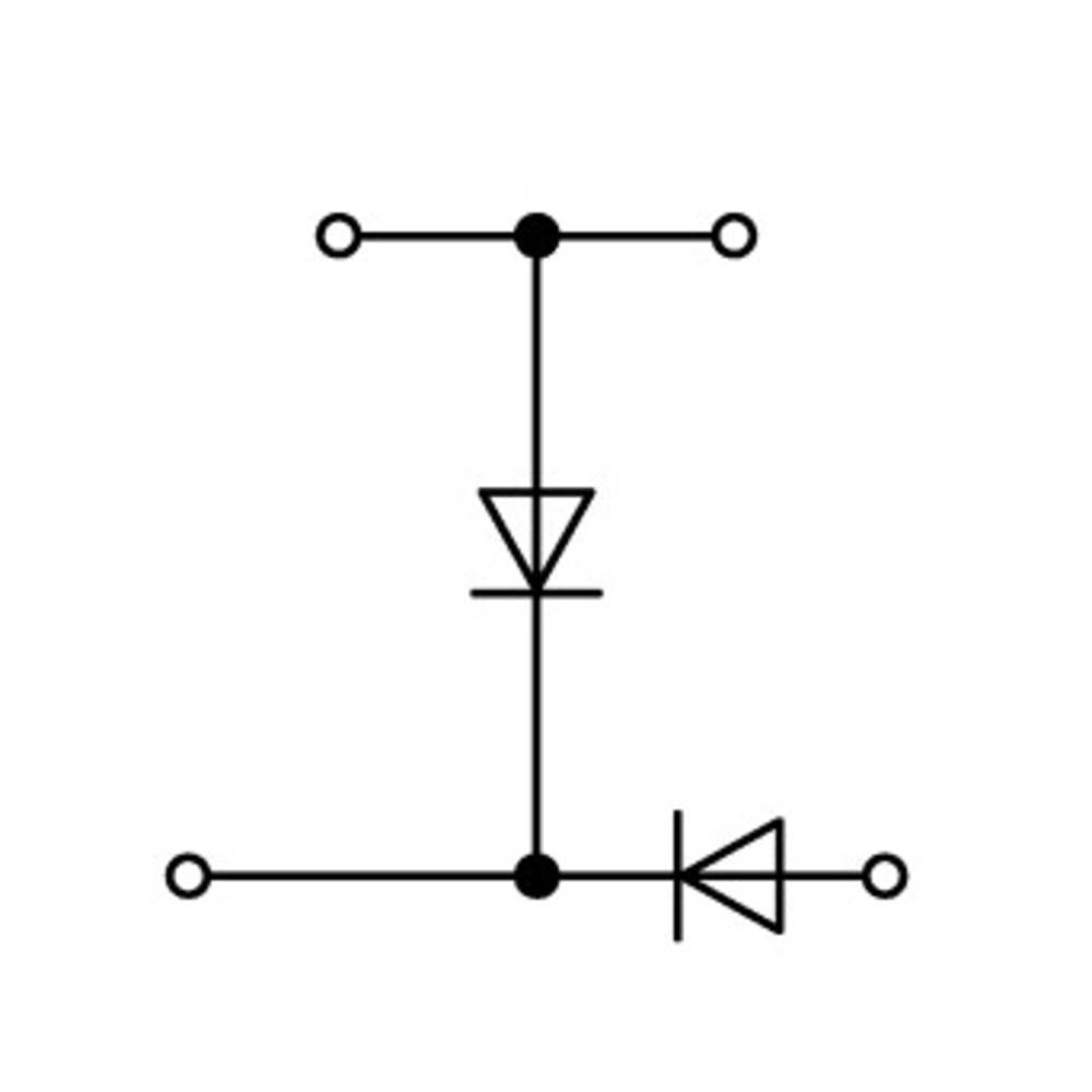Dobbeltlags diodeklemme 5 mm Trækfjeder Belægning: L Grå WAGO 870-541/281-491 50 stk