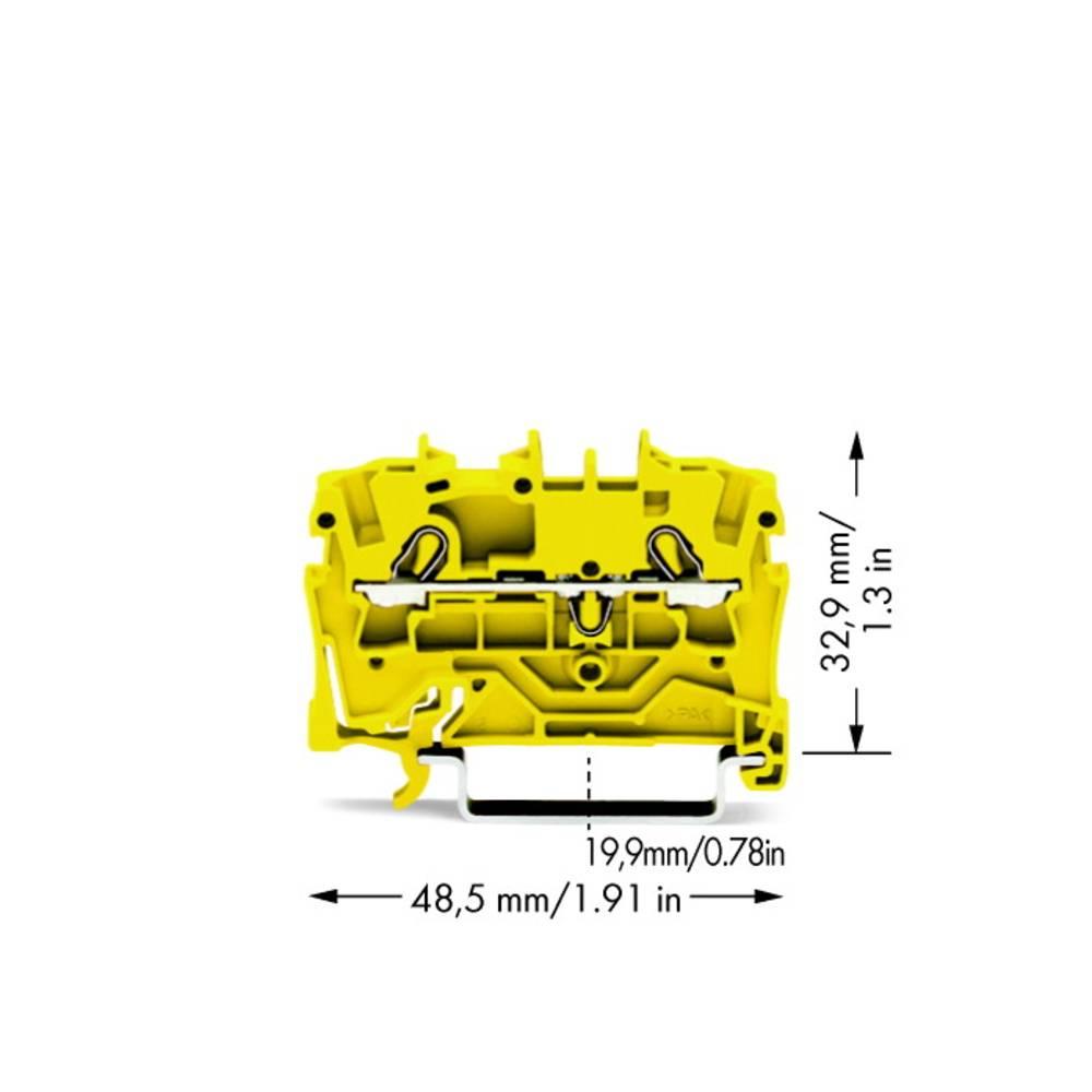 Gennemgangsklemme 5.20 mm Trækfjeder Gul WAGO 2002-1206 100 stk