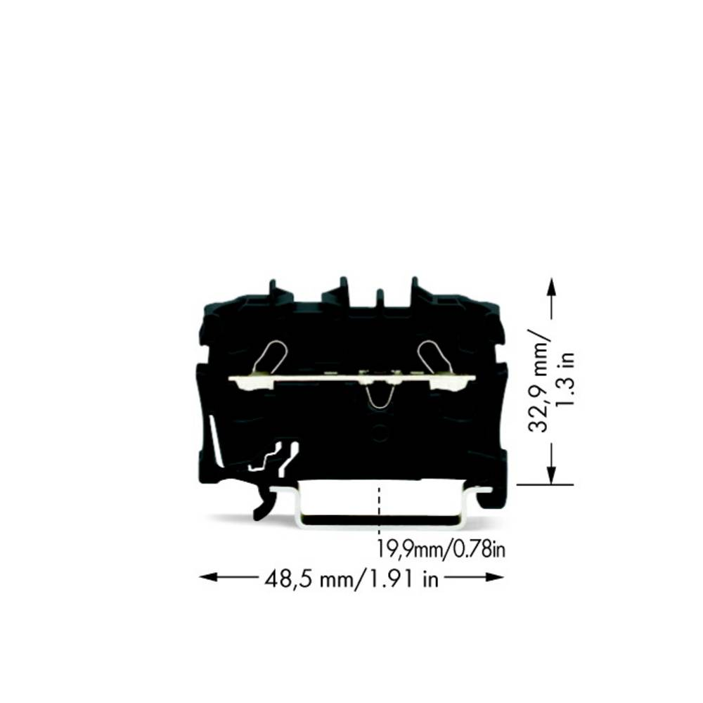 Gennemgangsklemme 5.20 mm Trækfjeder Sort WAGO 2002-1205 100 stk