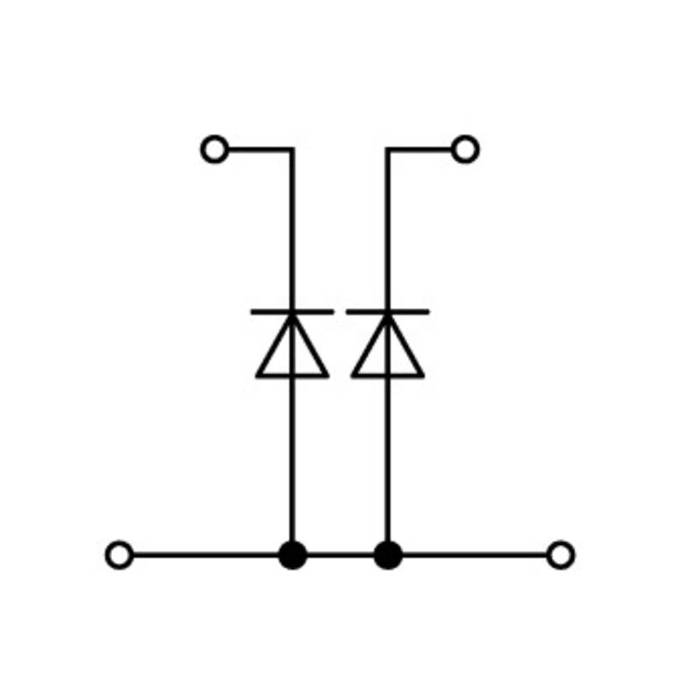 Dobbeltlags diodeklemme 5 mm Trækfjeder Belægning: L Grå WAGO 870-542/281-487 50 stk