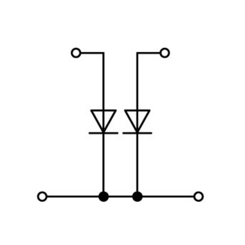 Dobbeltlags diodeklemme 5 mm Trækfjeder Belægning: L Grå WAGO 870-542/281-488 50 stk