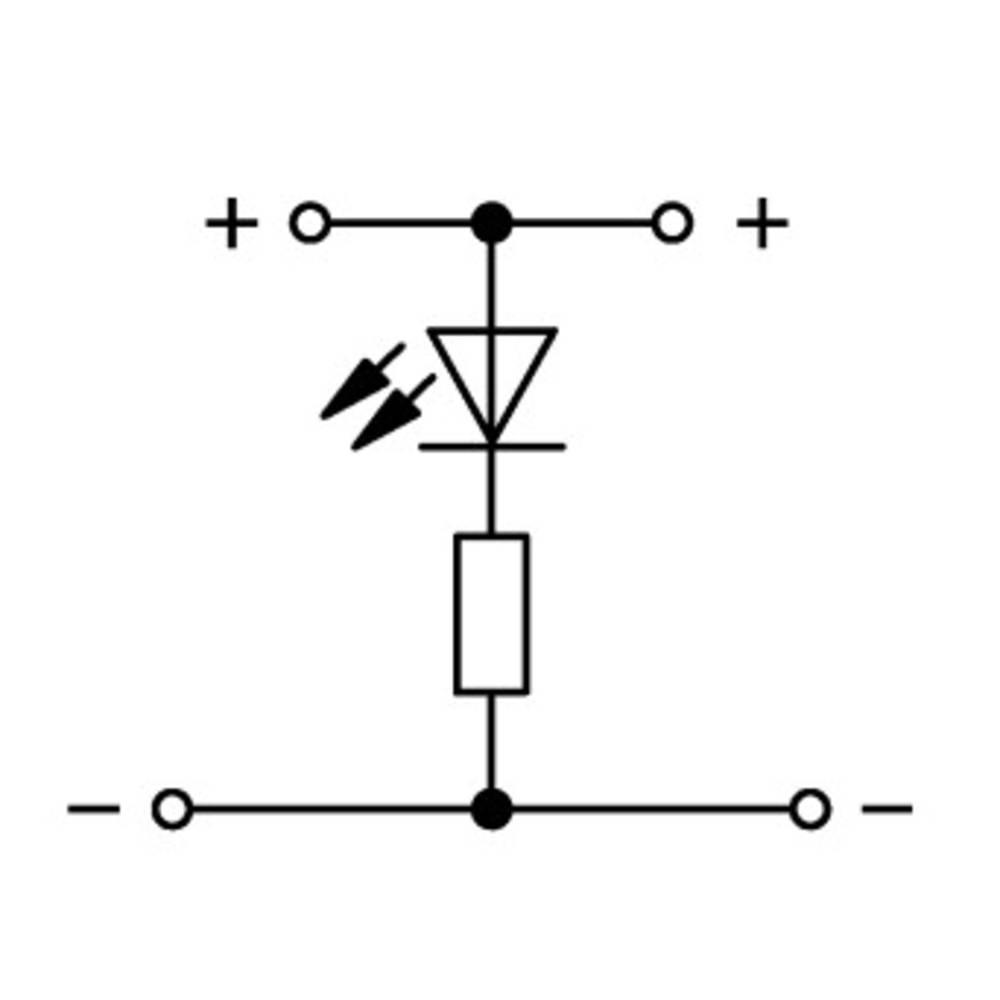 Dobbeltlags-LED-klemme 5 mm Trækfjeder Belægning: L Grå WAGO 870-543/281-413 50 stk