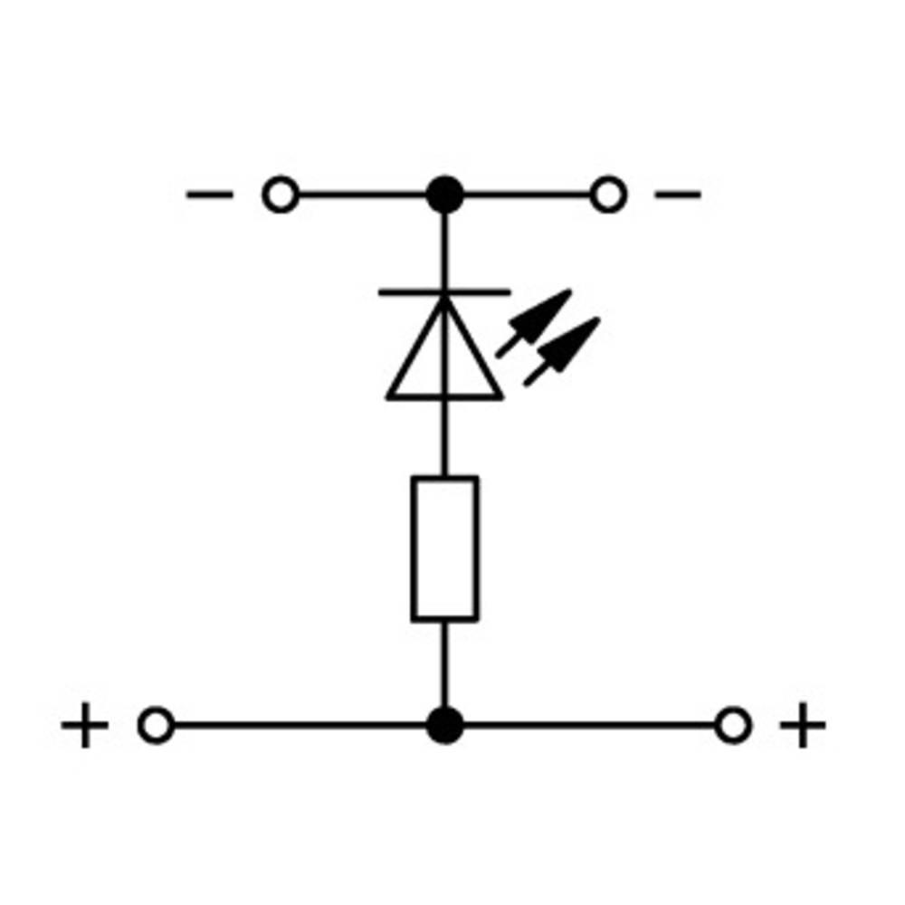 Dobbeltlags-LED-klemme 5 mm Trækfjeder Belægning: L Grå WAGO 870-543/281-434 50 stk