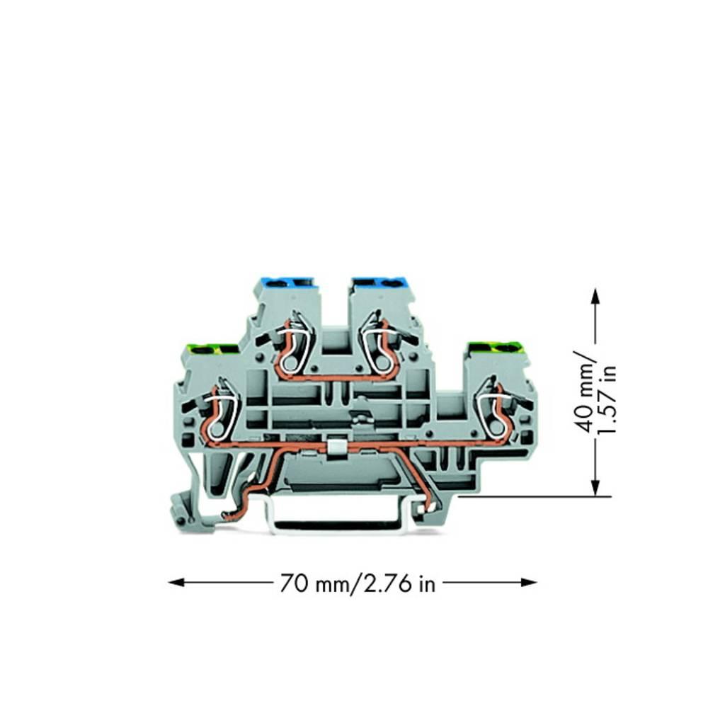 Dobbeltlags-beskyttelseslederklemme 5 mm Trækfjeder Belægning: Terre, N Grå WAGO 870-517 50 stk