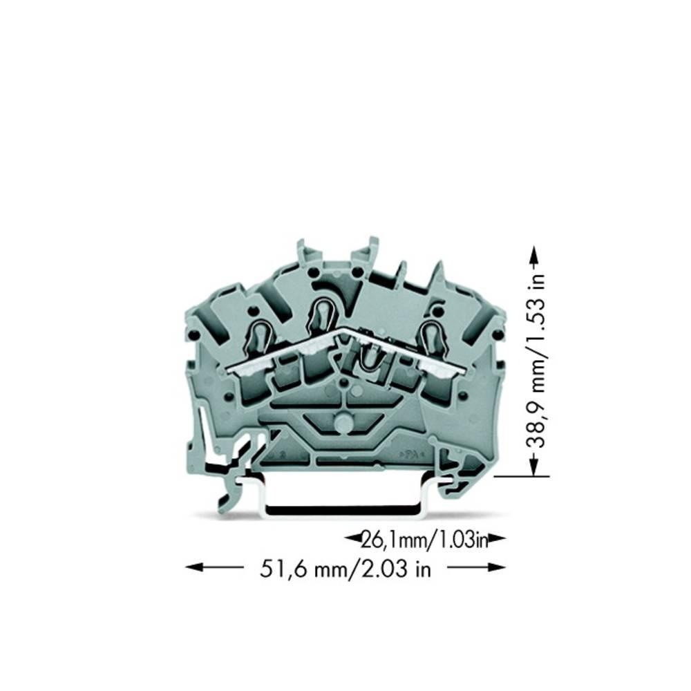 Gennemgangsklemme 5.20 mm Trækfjeder Belægning: L Grå WAGO 2002-6301 100 stk