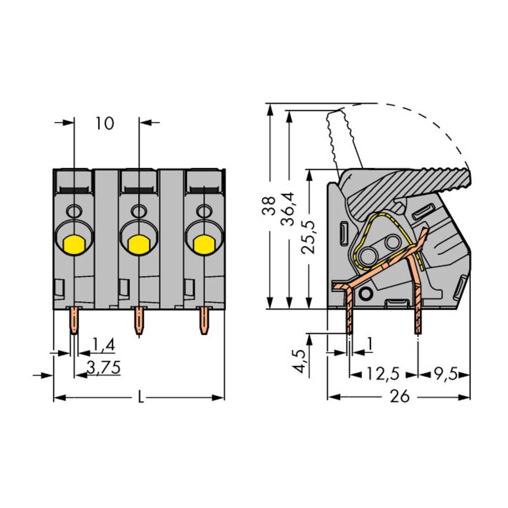 Fjederkraftsklemmeblok WAGO 6.00 mm² Poltal 4 Grå 30 stk