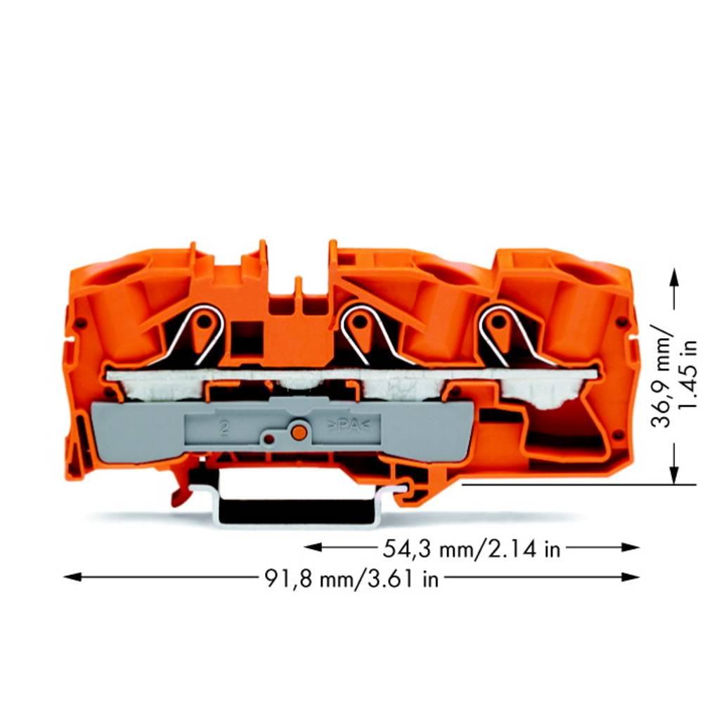 Gennemgangsklemme 12 mm Trækfjeder Orange WAGO 2016-1302 20 stk
