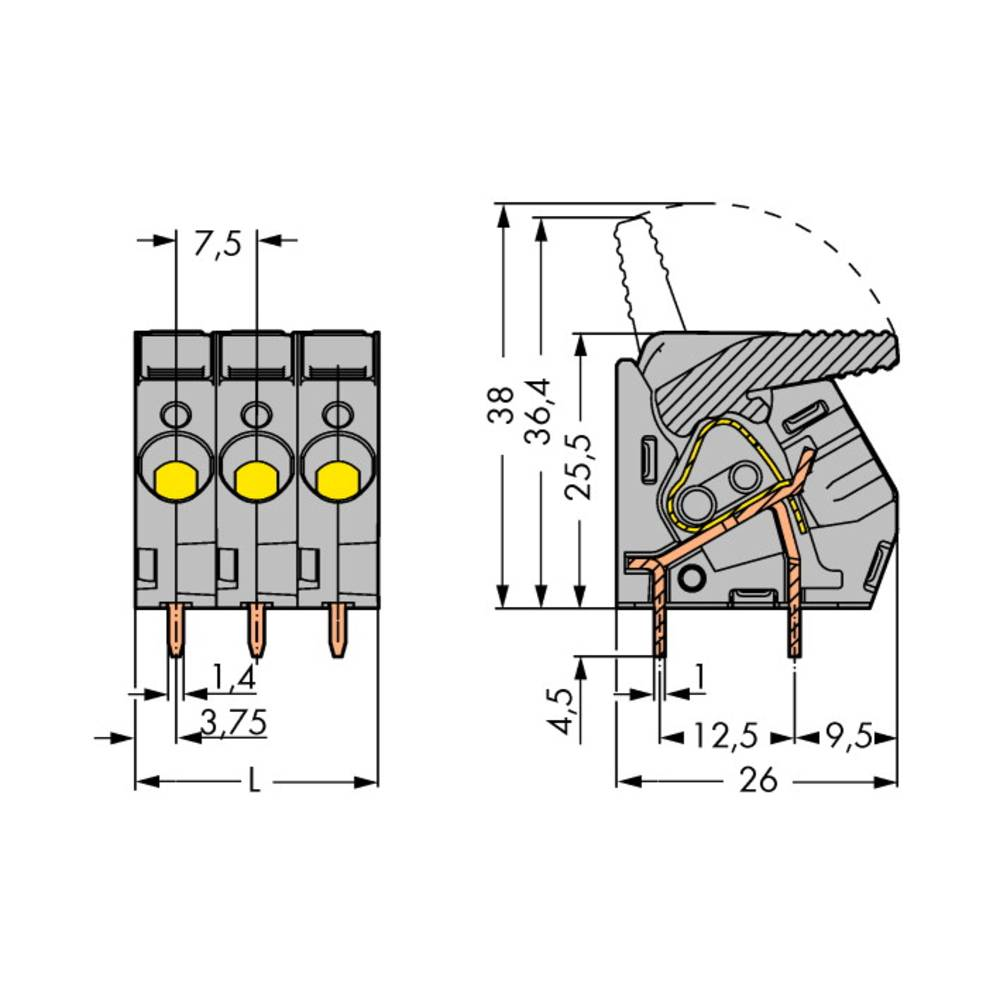 Fjederkraftsklemmeblok WAGO 6.00 mm² Poltal 12 Grå 10 stk