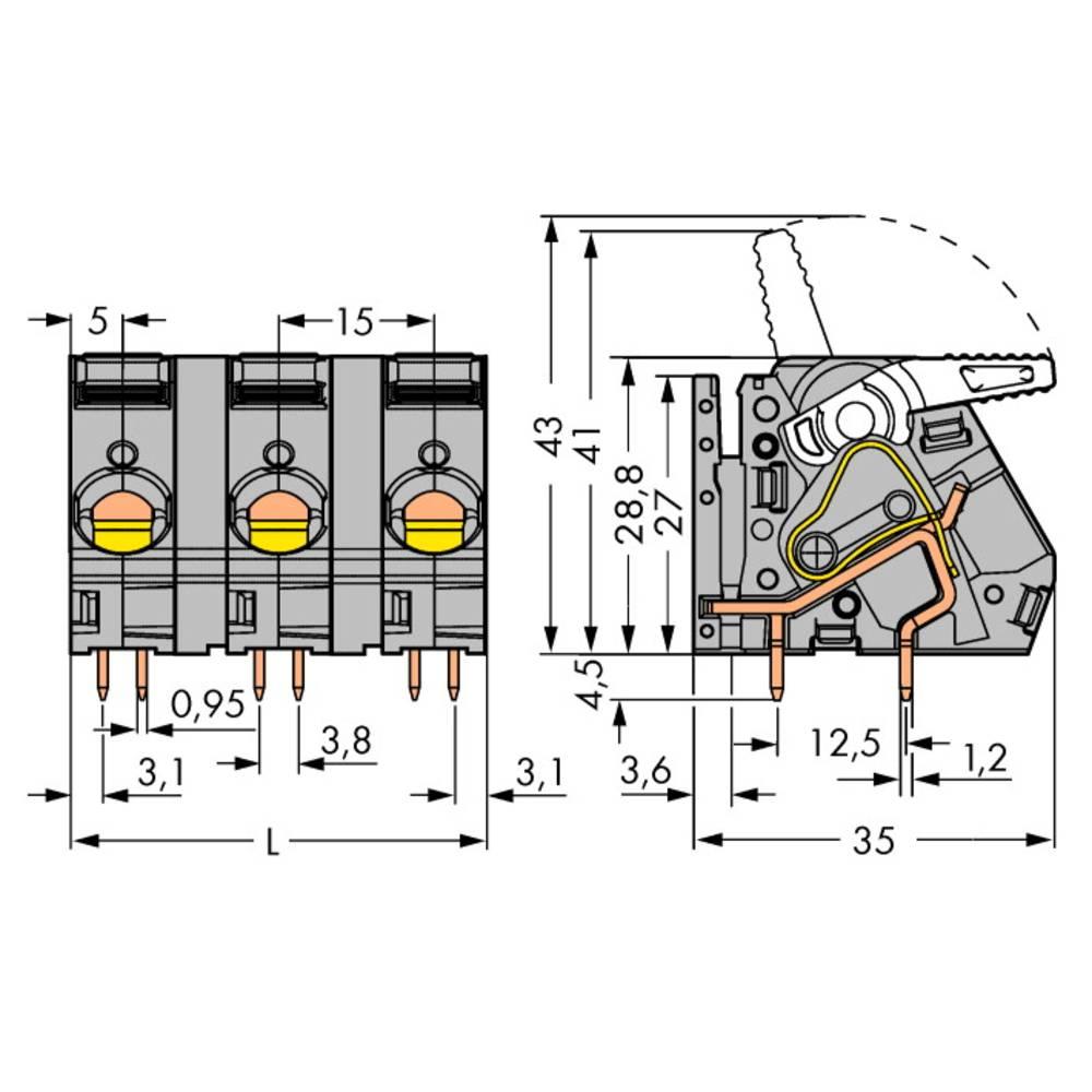 Fjederkraftsklemmeblok WAGO 6.00 mm² Poltal 4 Grå 16 stk