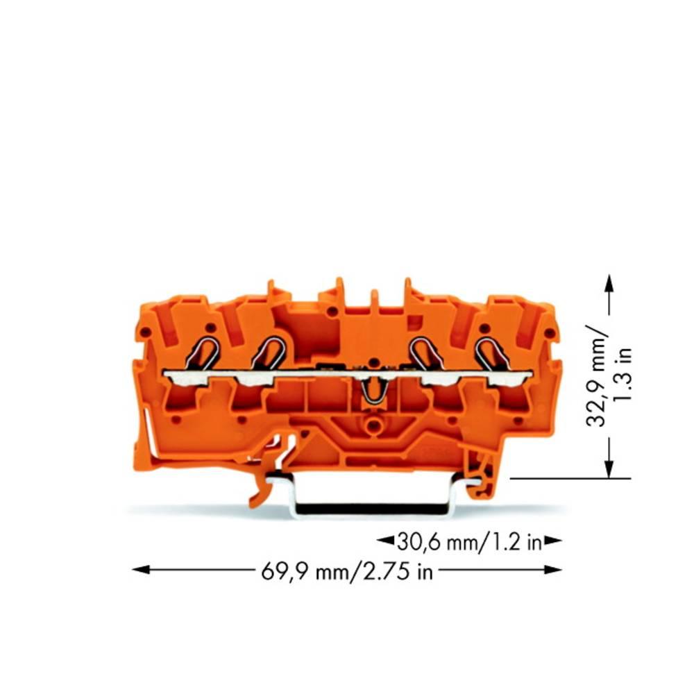 Gennemgangsklemme 5.20 mm Trækfjeder Orange WAGO 2002-1402 100 stk