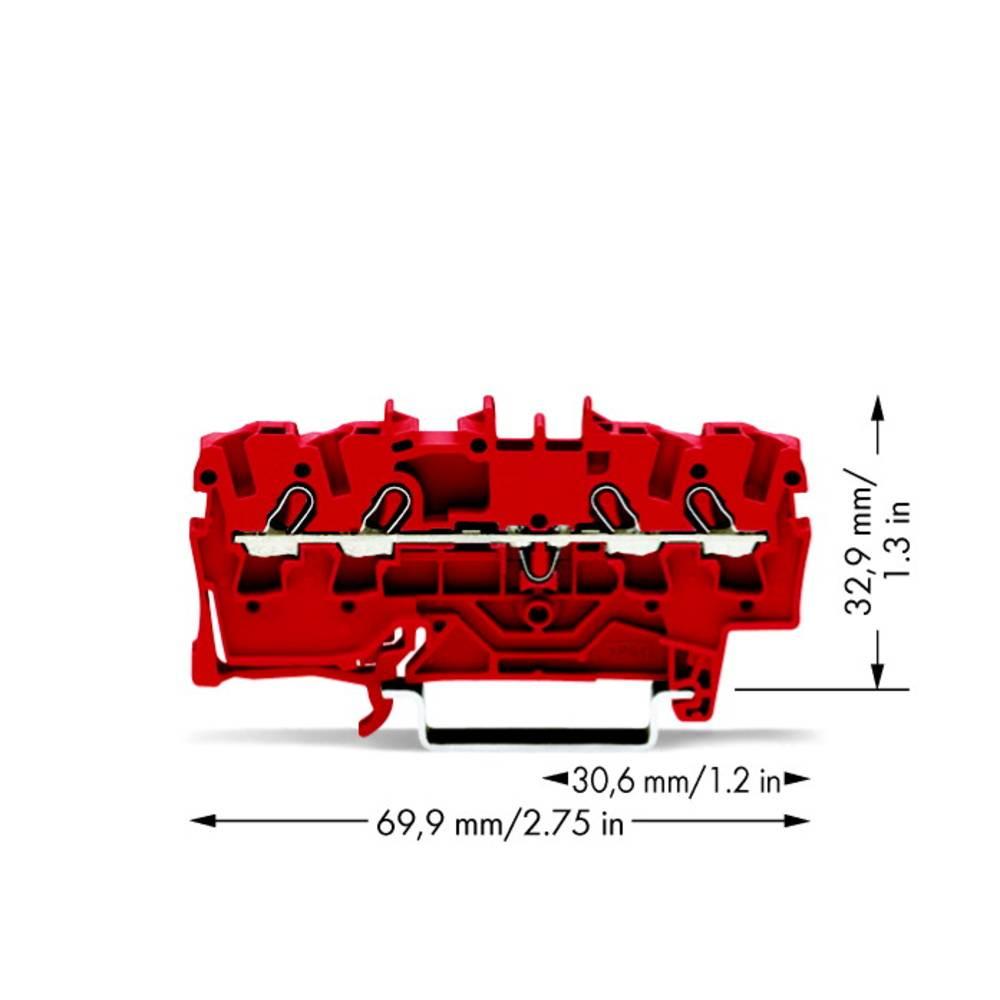 Gennemgangsklemme 5.20 mm Trækfjeder Rød WAGO 2002-1403 100 stk
