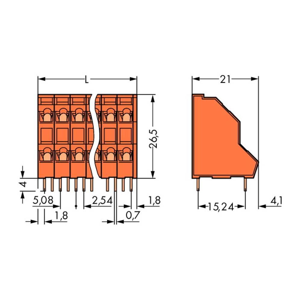 Dobbeltrækkeklemme WAGO 2.50 mm² Poltal 30 Orange 21 stk