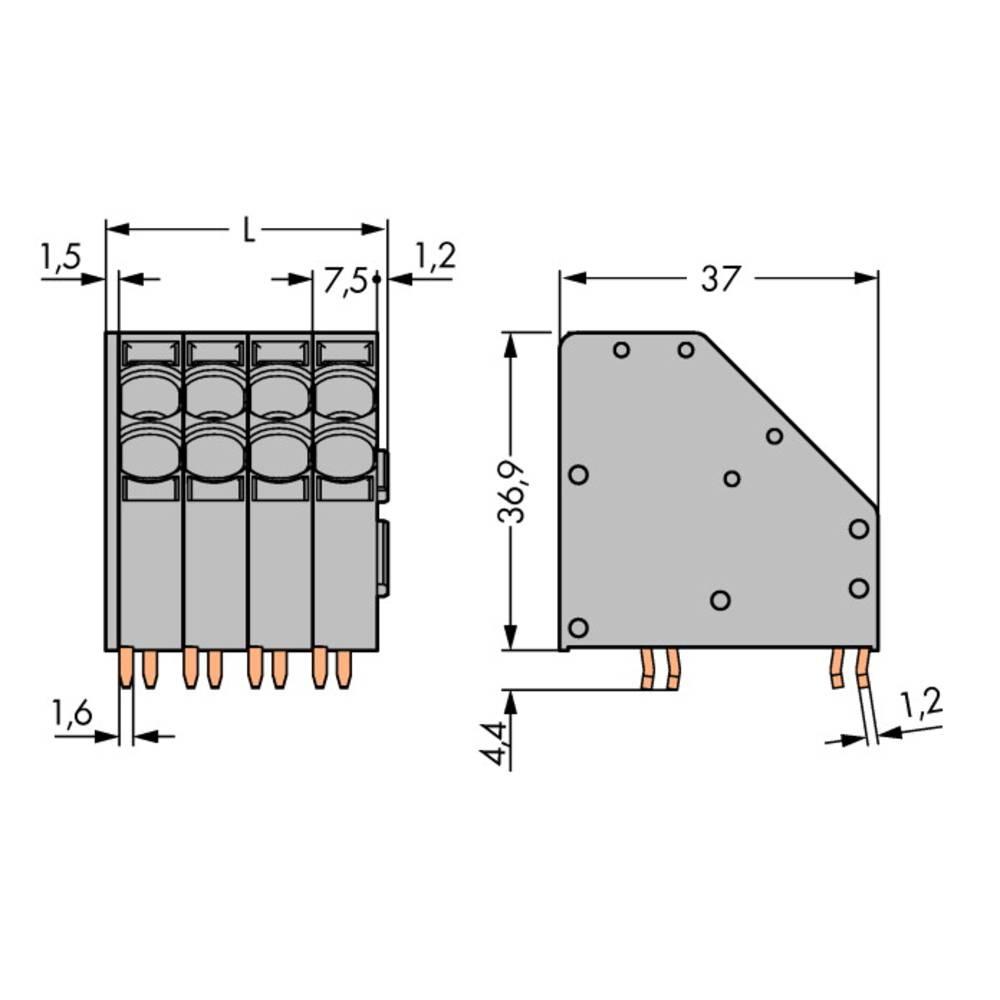 Fjederkraftsklemmeblok WAGO 10.00 mm² Poltal 8 Grå 16 stk