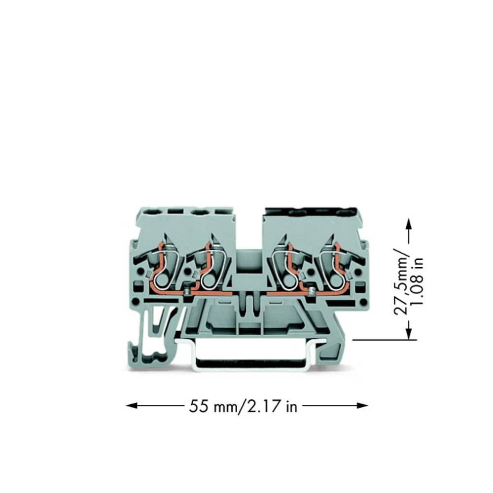 Gennemgangsklemme 5 mm Trækfjeder Belægning: L Grå WAGO 870-826 100 stk