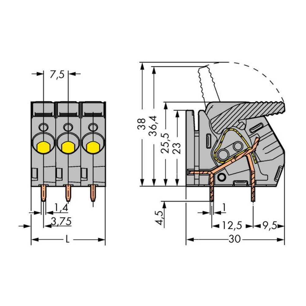Fjederkraftsklemmeblok WAGO 6.00 mm² Poltal 9 Grå 15 stk