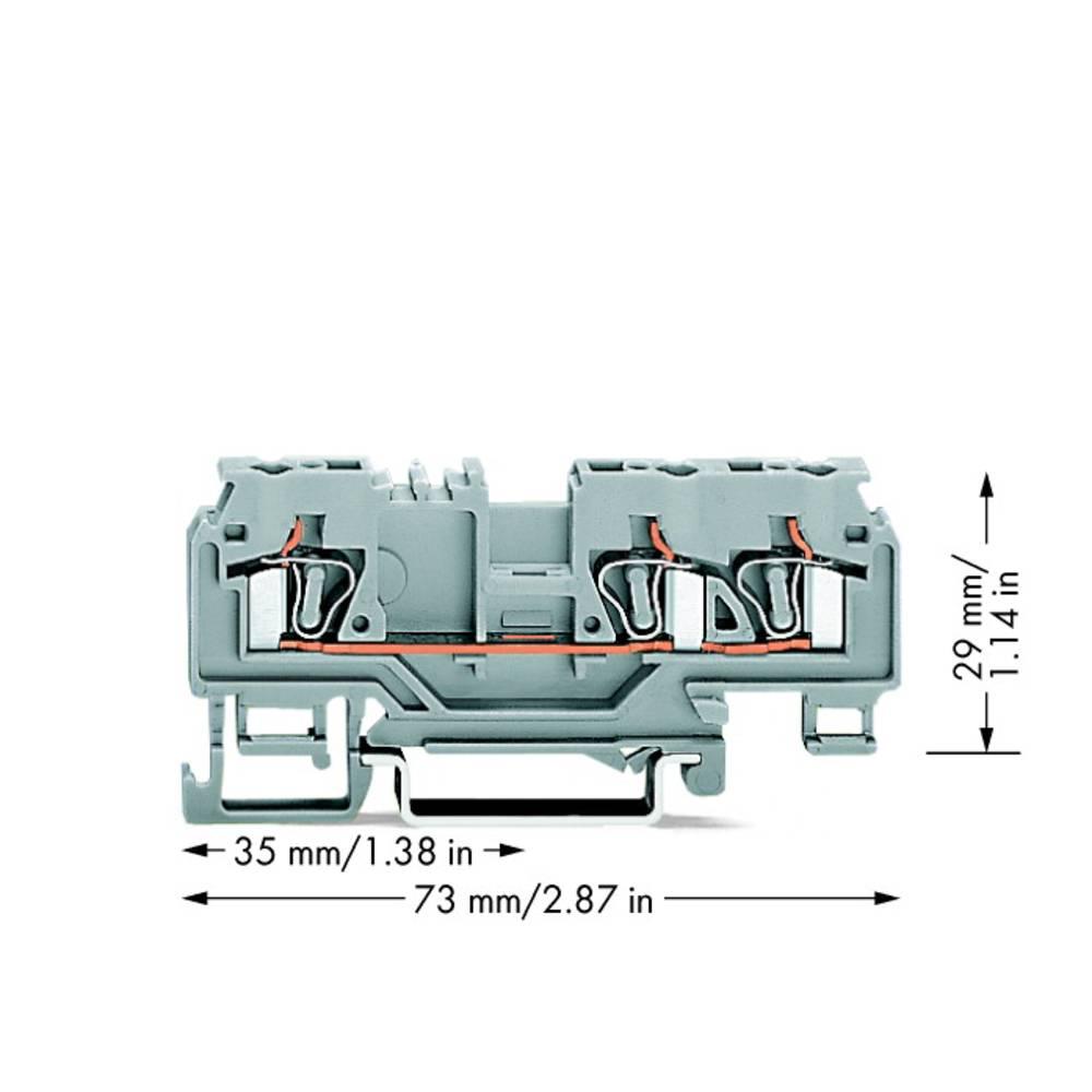 Gennemgangsklemme 5 mm Trækfjeder Belægning: L Grå WAGO 880-681 100 stk
