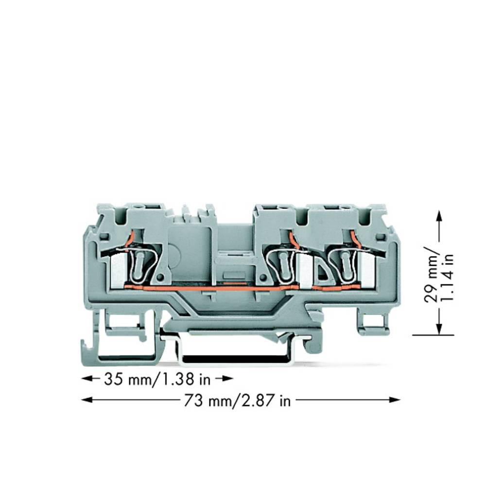 Gennemgangsklemme 5 mm Trækfjeder Belægning: L Grå WAGO 880-681/999-940 100 stk