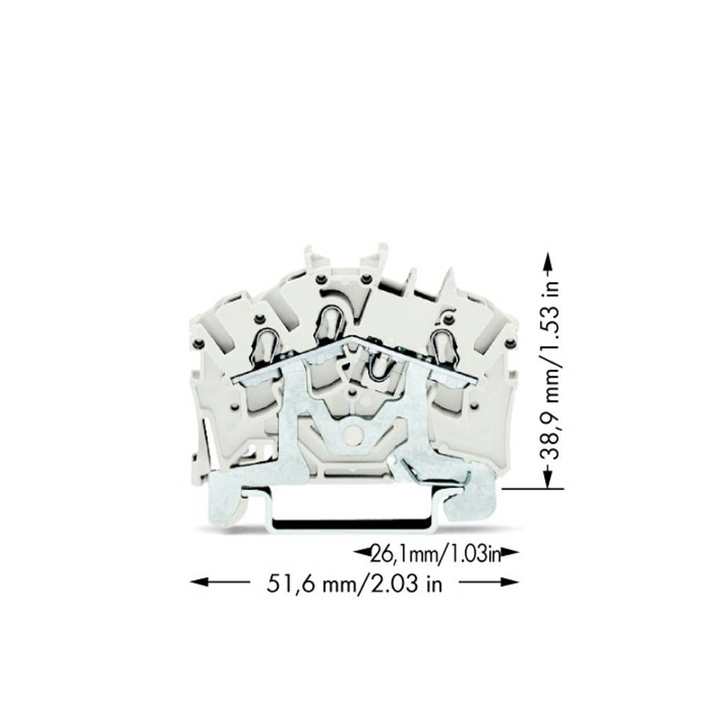 Skærmklemme 5.20 mm Trækfjeder Hvid WAGO 2002-6308 100 stk