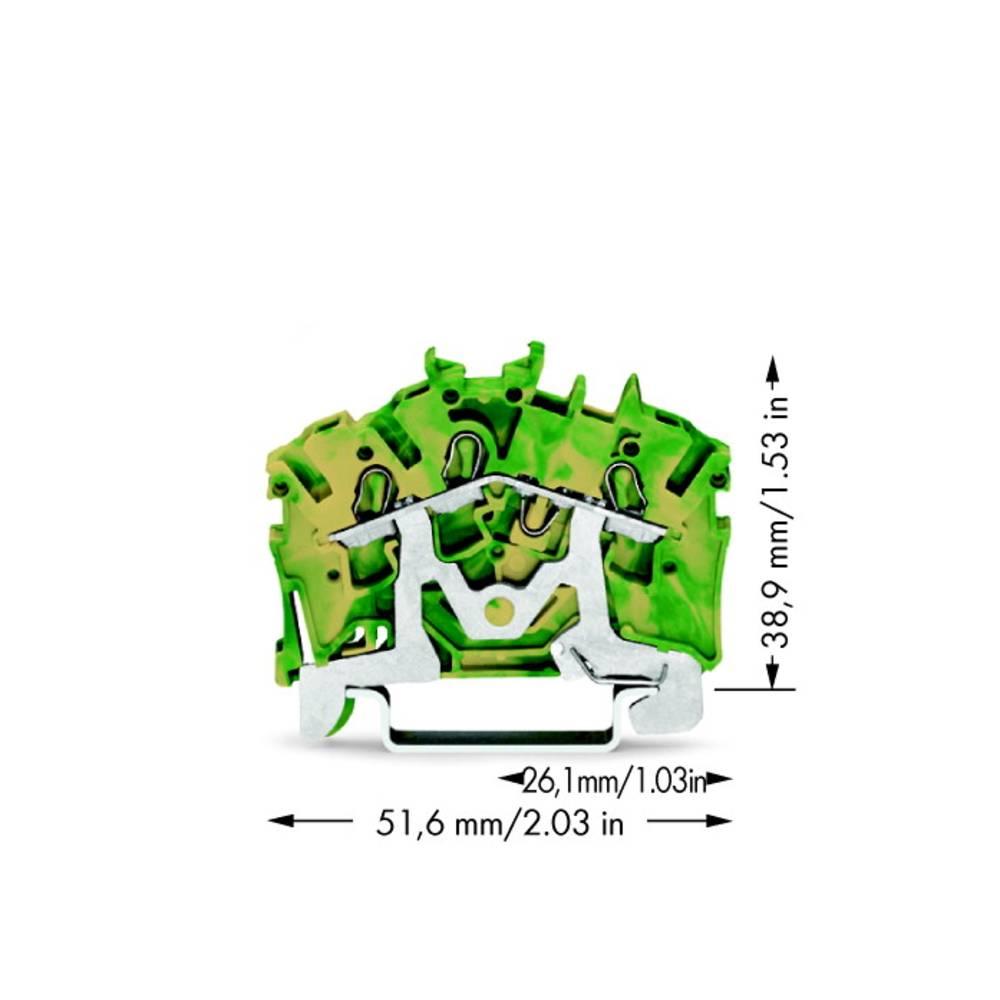 Jordklemme 5.20 mm Trækfjeder Belægning: Terre Grøn-gul WAGO 2002-6307 100 stk