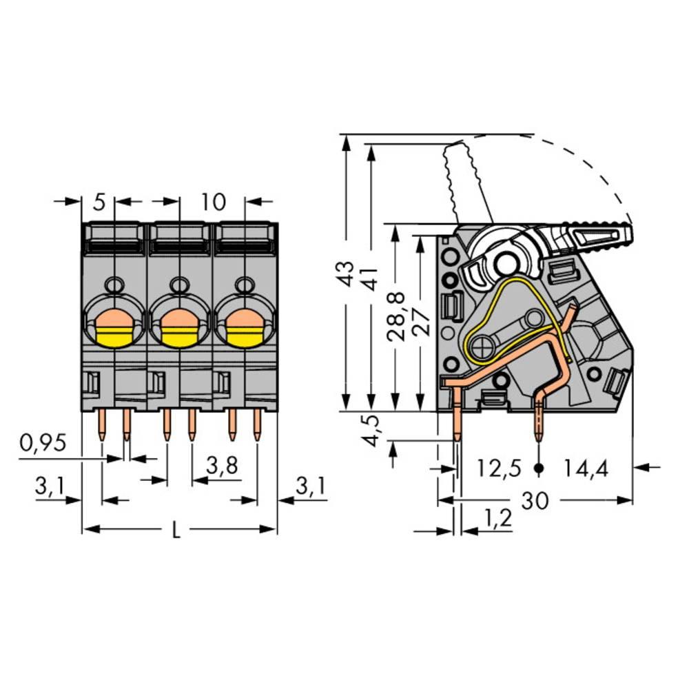 Fjederkraftsklemmeblok WAGO 6.00 mm² Poltal 3 Grå 40 stk