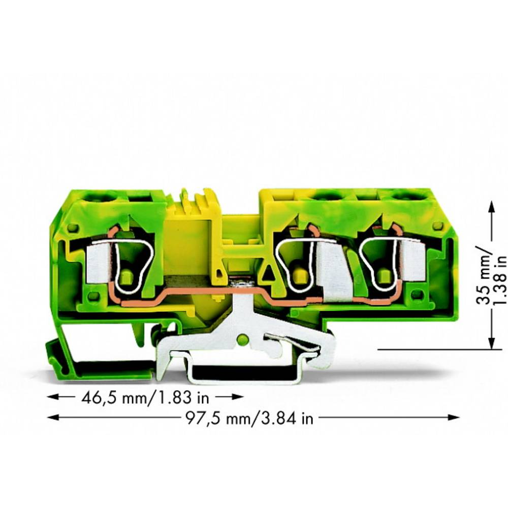 Jordklemme 10 mm Trækfjeder Belægning: Terre Grøn-gul WAGO 284-687/999-950 25 stk