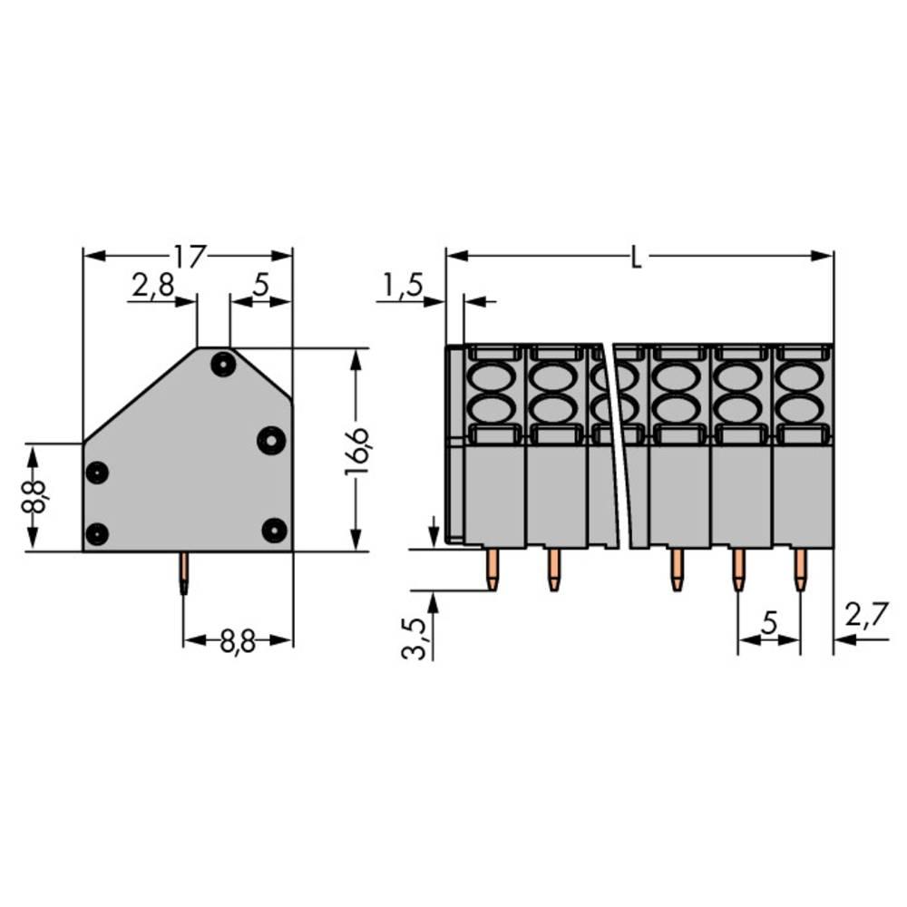 Fjederkraftsklemmeblok WAGO 1.50 mm² Poltal 12 Grå 56 stk