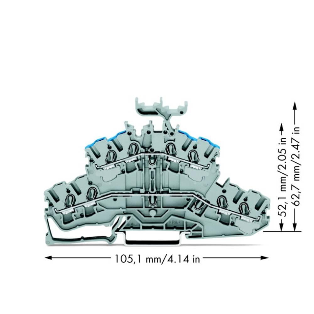 Dobbeltlags-gennemgangsklemme 5.20 mm Trækfjeder Belægning: L, N Grå WAGO 2002-2433 50 stk