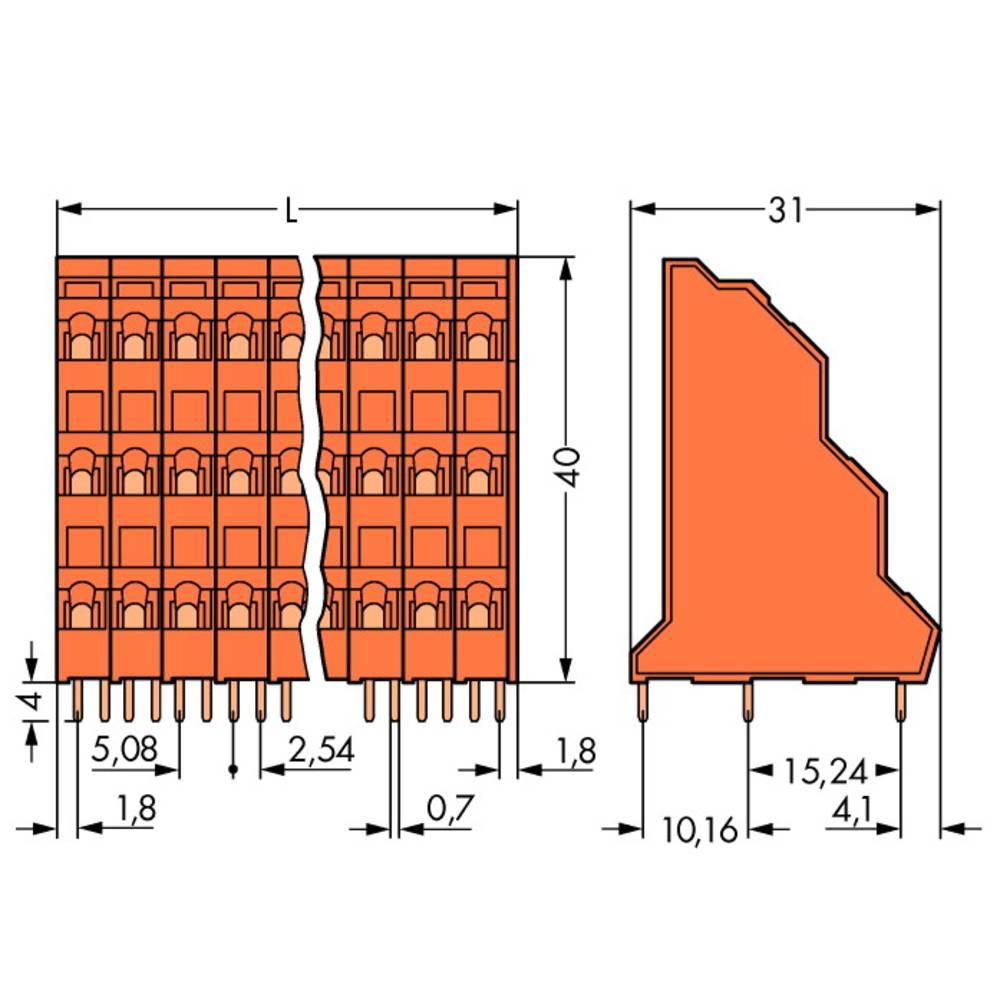Tre-etagesklemme WAGO 2.50 mm² Poltal 6 Orange 96 stk